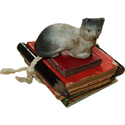 Tiny Antique Cat and Pile of Books + Pencils For Dolls House