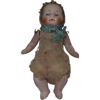 A Very Sweet Early 20th Century Tiny Bisque Doll