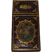 A Fine Victorian Lady's Leather Card Case With Embroidered Panels