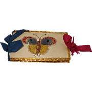A Pretty Early 19th Century  Hand Painted Butterfly Needle Case