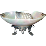 A Fine 19th Century Mother of Pearl Thimble Stand and Thimble