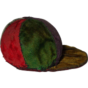 A Victorian Velvet Jockey Cap Pin Cushion
