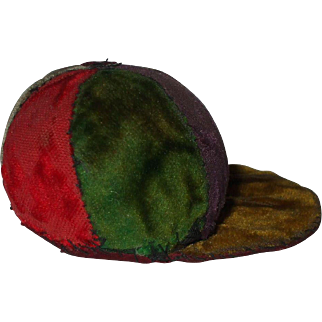 A Victorian Velvet Jockey Cap Pin Cushion