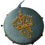 Blue Silk Pin Wheel/Pin cushion Commemorating The Coronation of King George VI in 1936 - Red Tag Sale Item