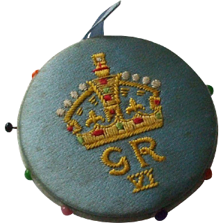 Blue Silk Pin Wheel/Pin cushion Commemorating The Coronation of King George VI in 1936