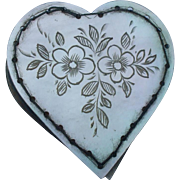 A Charming  Mother of Pearl Heart Pin Cushion Circa 1850