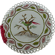 Charming Hand Painted  Bird and Embroidered Early 19th Century Needle Case