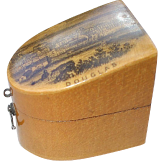 An Excellent 19th Century Mauchline Ware Thimble Case and Advertising Thimble * THIS ITEM HAS BEEN RESERVED *