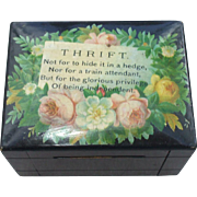 A Charming Victorian Small Money Box With Motto