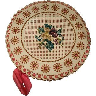 A Charming 19th Century Embroidered Bristol Board Pinwheel
