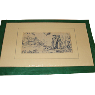A Pretty Piece of 19th Century French Toile De Jouy Mounted and Ready to Frame