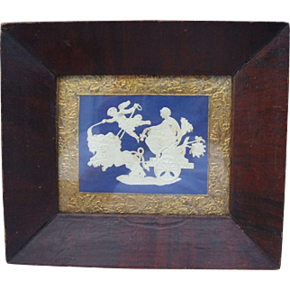 An Attractive Embossed Card Picture Circa 1840 in Original Wood Frame