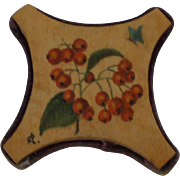 A Charming Painted Wooden Pin Cushion/Thread Winder Circa 1900