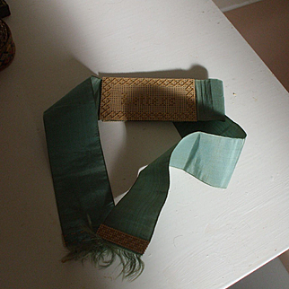 A Wonderful Blue Silk Ribbon Victorian Love Letters Holder Dated 1870