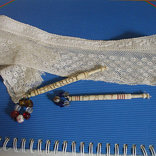 Two 19th Century Bone Lace Bobbins With Names - Mary and Harriot plus A Length of Pretty 19th Century Hand Made Lace