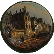 Interesting 19th Century Reverse Glass Painted Double Sided Pin Cushion of St. John's College, Oxford