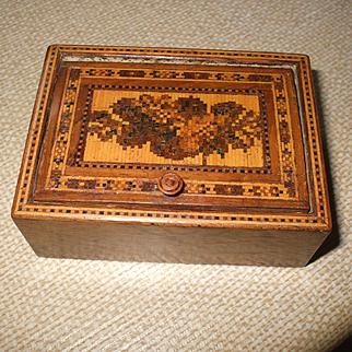 An Attractive 19th Century Tunbridge Ware Trinket/ Needles Box