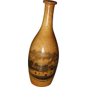 A Delightful 19th Century Bottle Form Mauchline Ware Thimble Holder With Advertising Thimble