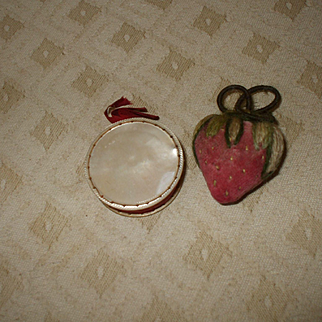 Two Sweet 19th Century Strawberry  and Mother of Pearl Pincushions