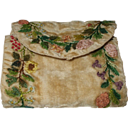 Regency Velvet Embroidered Hussif/Sewing Roll C1820