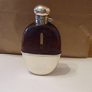 A Fine Quality George V English Silver and  Crocodile Leather  Mappin & Webb Spirit Flask Hallmarked Birmingham 1911