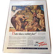 Vintage 1943 GM / Fisher War-time Magazine Advertisement