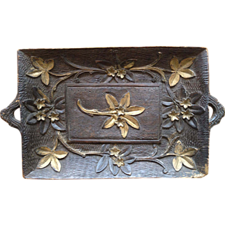 French Handcarved Wood Tray