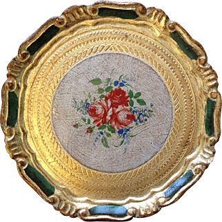 Petite Florentine Tray with Floral Tole Painting