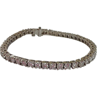 14k White Gold Round Brilliant Diamond Tennis Bracelet ~ TCW 8.00ct
