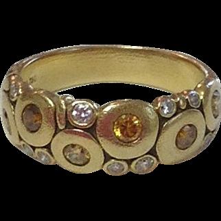 "18k Gold ALEX SEPKUS ""Candy"" Dome Diamond Ring~ Size 5"