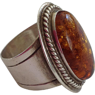 Vintage Jay King DTR Sterling Silver Baltic Amber RIng~ Size 9