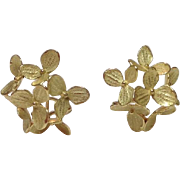 John Iversen 18k Solid Yellow Gold Medium 6 Part Hydrangea Earrings - High End Designer