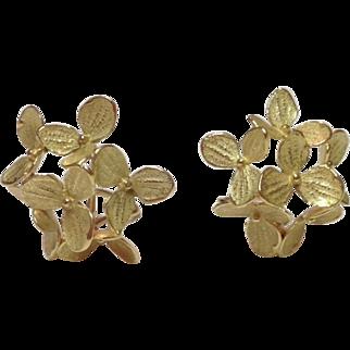 18k Yellow Gold John Iversen Medium 6 Part Hydrangea Clip Earrings