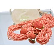 Gumps of San Francisco Vintage 18K Solid Gold & Salmon Coral 10 Strand Necklace & Earrings Set