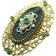 Vintage 14k Yellow Gold Onyx, Emerald & Diamond Brooch/Pendant