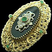 Vintage 14k Yellow Gold Onyx, Emerald & Diamond Brooch/Pendant