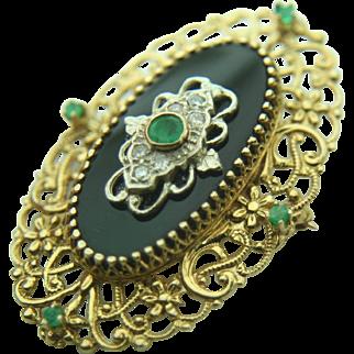 14k Yellow Gold Onyx, Emerald & Diamond Brooch/Pendant