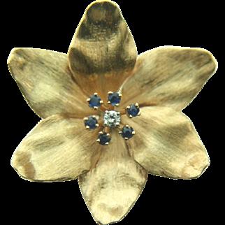 14k Yellow Gold Spinel & Diamond Brooch