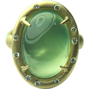 Russell Trusso 18k Solid Gold & Prehnite Cabochon Ring with Gypsy Set Diamonds