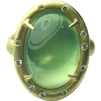 Russell Trusso 18k Prehnite Cabochon Ring with Gypsy Set Diamonds~Size 6