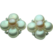 S.F. Gumps Exclusive 18k White Gold Freshwater Cultured Pearl & Diamond Earrings