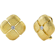 Aaron Henry 18k 750 Solid Gold Square Pillow & Diamond Earrings