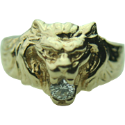 Men's 14k Solid Yellow Gold Lion Head & .25 ct Diamond Fine Ring