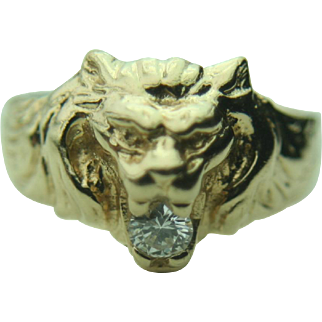 14k Yellow Gold Lion Head Ring with .25ct Diamond~ Size 9.5