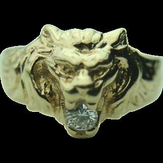 Men's 14k Solid Yellow Gold Lion Head & .25 ct Diamond Fine Ring