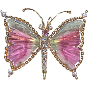 Russell Trusso 18k Gold Banded Agate & Diamond Butterfly Pendant