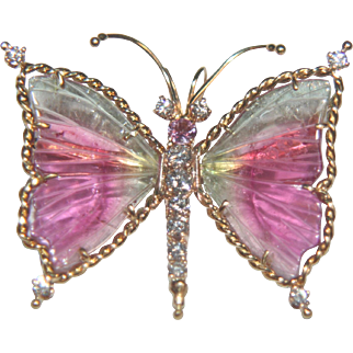 18k Gold Banded Agate & Diamond Butterfly Pendant by Designer Russell Trusso - S.F. Gumps