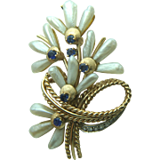 Vintage 14k Solid Gold Pearl, Sapphire & Diamond Brooch - Heavy 17 Grams