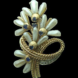Vintage 14k Solid Gold Pearl, Sapphire & Diamond Brooch - Heavy 17 Grams
