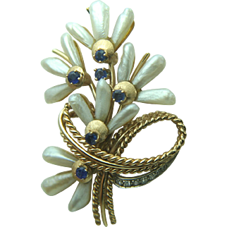Vintage 14k Gold Pearl, Sapphire & Diamond Brooch